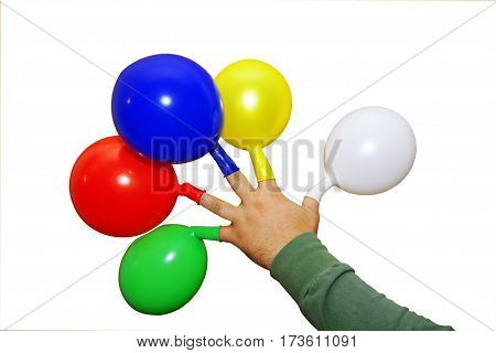 Hand of holding multicolored colorful balloons on a white background