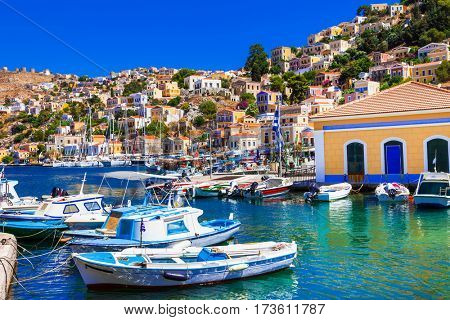 Colorful islands of Greece - beautiful Symi in Dodecanesse