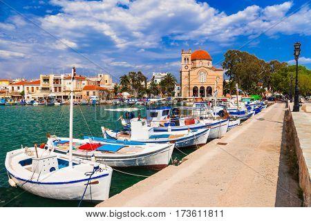 Authentic beautiful Greek islands -Aegina with traditional fishi
