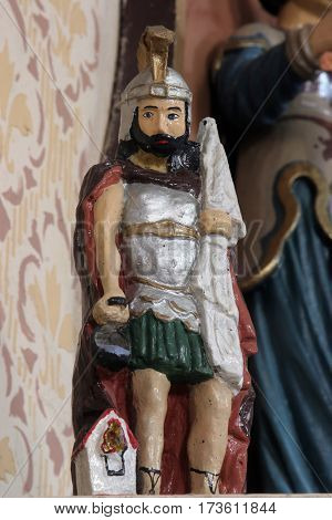 MARTINSKA VES, CROATIA - JUNE 03: Saint Florian statue on the altar in Parish Church of Saint Martin in Martinska Ves, Croatia on June 03, 2011.