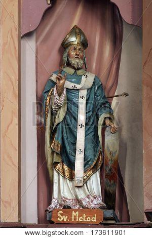 MARTINSKA VES, CROATIA - JUNE 03: Statue of Saint Methodius on the altar in Parish Church of Saint Martin in Martinska Ves, Croatia on June 03, 2011.