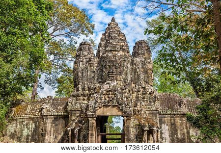 The Victory Gate of the Angkor Thom Temple in Cambodia