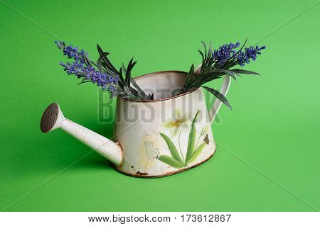 Watering Can With Flowers On The Green Bsckground