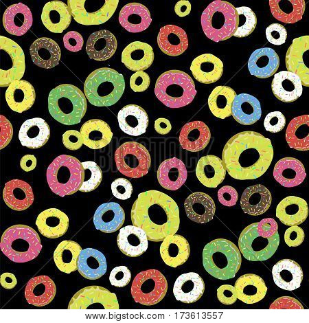 Colorful Fresh Sweet Donuts Seamless Pattern on Black Background. Delicios Tasty Glazed Donut. Cream Yummy Cookie.