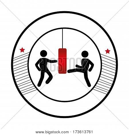 circular frame with monochrome graphic men knocking bag weight vector illustration
