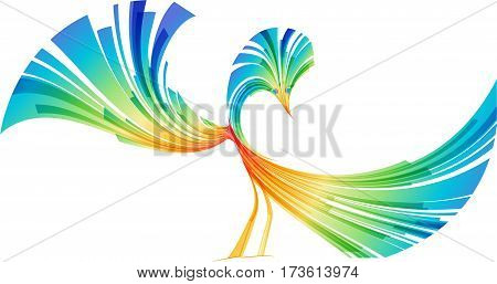 Abstract fantasy bird isolated on white background