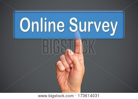 Online Survey - female hand with touchscreen button