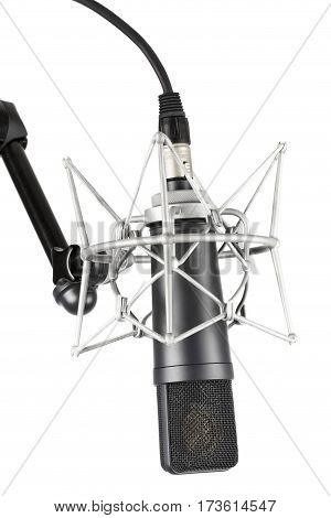 Professional recording studio microphone on white background