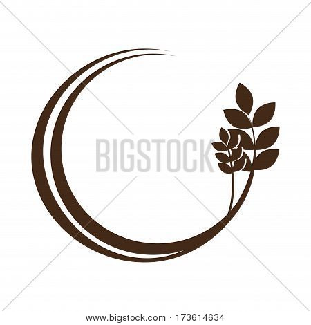 medium circular border with branch and leaves vector illustration