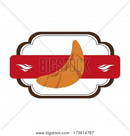 heraldic frame with plaque decorative and croissant bread vector illustration
