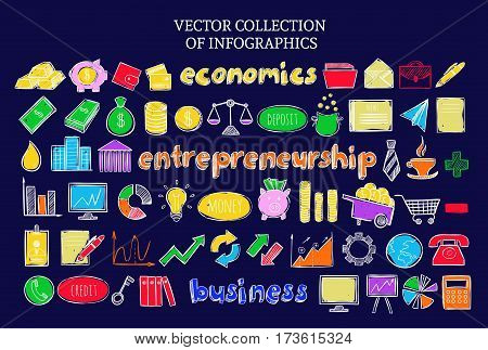 Colorful infographic business economic icons set of financial elements in sketch style on dark background isolated vector illustration