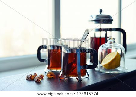 Cups Of Tea  With French Press