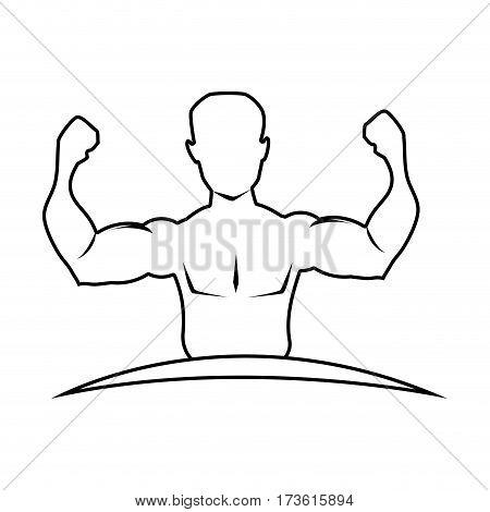silhouette half body muscle man vector illustration