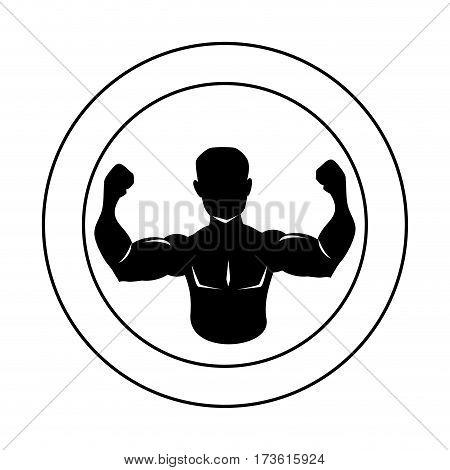 circular border silhouette half body muscle man vector illustration