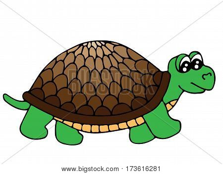 Cute colorful tortoise isolated on the white background. Turtle for coloring book and other child design.