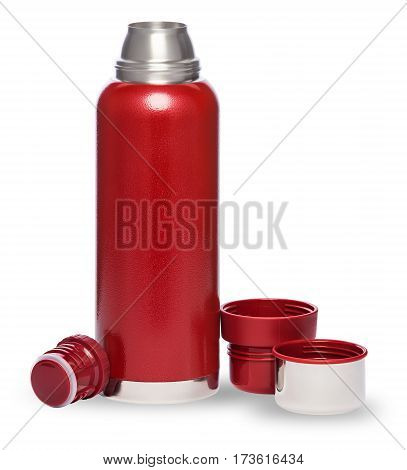 Thermo red bottle isolated on white background
