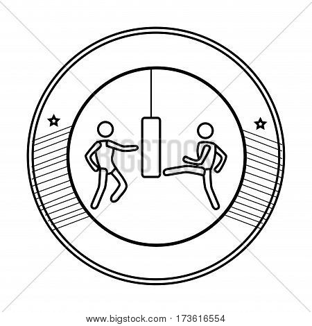 silhouette circular frame with graphic men knocking bag weight vector illustration