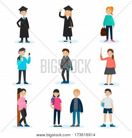 People in university set with teenagers in casual clothes and sportswear and graduated students isolated vector illustration