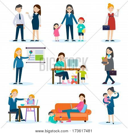 Busy mother and pregnant woman set working in office at home and doing housework part isolated vector illustration