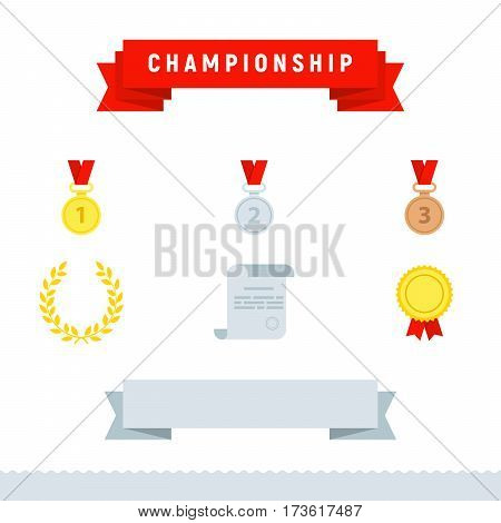 Award icons, championship set. Flat design style modern vector illustration. Gold, silver and bronze medal icon. Trophy and awards, ribbons. Laurel victory wreath. Diploma paper icon with stamp
