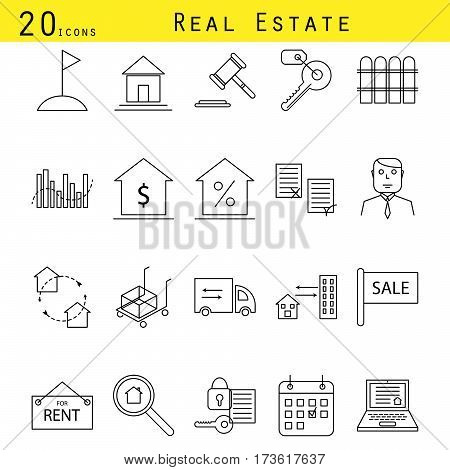 Real estate agency vector line icon set. Buildings industry investment outline icons.