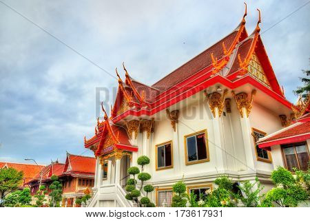Wat Chana Songkhram, a Buddhist temple in Bangkok, Thailand. The temple is located near Khaosan road