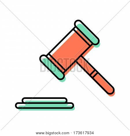 Gavel vector line icon. Ceremonial mallet illustration. Tool for judges and auctions.