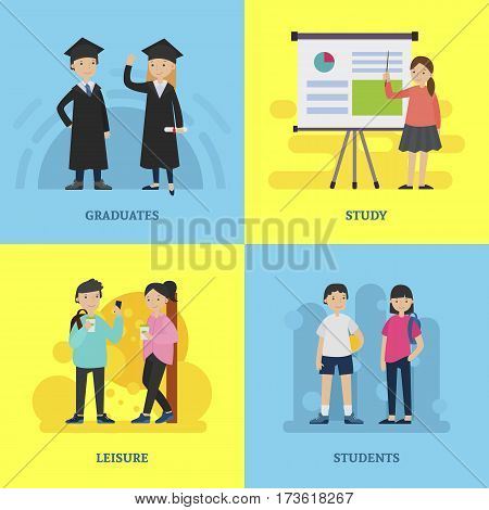 People in university square composition with active studying and graduated male and female students vector illustration