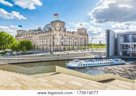 Berlin Government District With Reichstag And Ship On Spree River In Summer, Berlin Mitte, Germany