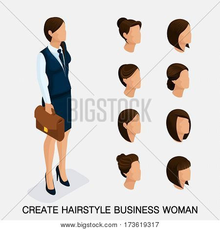 rendy isometric set 1 women's hairstyles. Young business woman hairstyle hair color. Create an image of the modern business woman. Vector illustration.