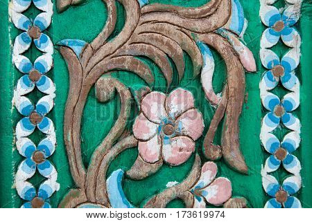Carvings Vintage Style Floral on The Tree Seamless Pattern on Wooden Background Texture