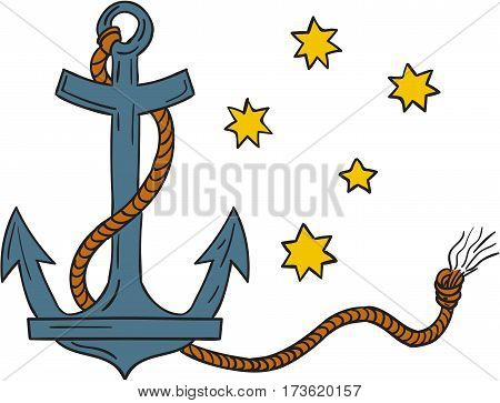 Drawing style illustration of an anchor a device made of metal used to connect a vessel to sea bed to prevent the craft from drifting with coiled rope and southern cross star constellation in background.
