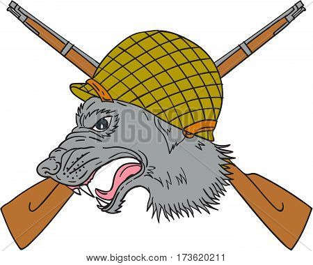 Drawing sketch style illustration of a grey wolf head wearing world war two helmet with crossed rifles in the background viewed from the side.