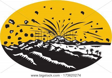 Illustration of a volcano erupting volcanic eruption resulting in island formation set inside oval shape done in woodcut style.