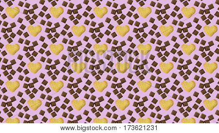 cute cookie hearts with sesame seeds among the pieces of chocolate. Concept: I love chocolate. Seamless texture. Confectionery. Cosiness. Sweet Tooth dream