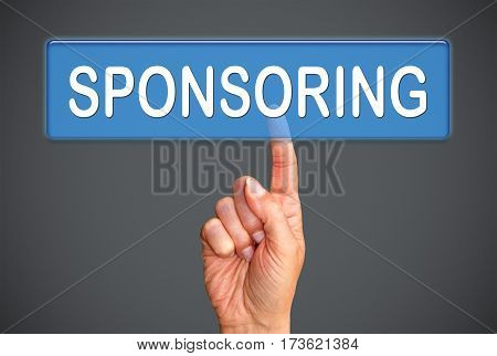 Sponsoring - female hand with touchscreen button