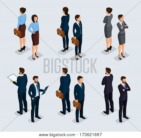 Trendy isometrics isometric people. Businessmen business woman in corporate clothing stylish clothing. People behind a front view of visas standing posture. Vector illustration.