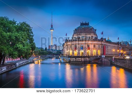 Museumsinsel With Tv Tower And Spree River At Night, Berlin, Germany