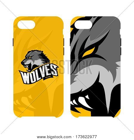 Furious wolf sport vector logo concept smart phone case isolated on white background. Web infographic predator team pictogram. Premium quality wild animal artwork cell phone cover illustration