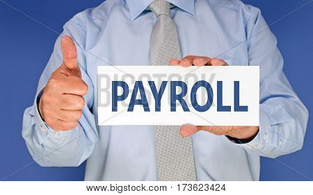 Payroll - Manager with sign and thumb up