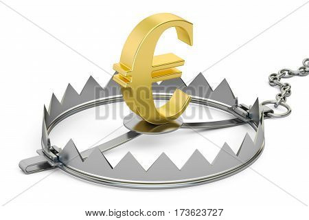 money trap with euro sign 3D rendering isolated on white background