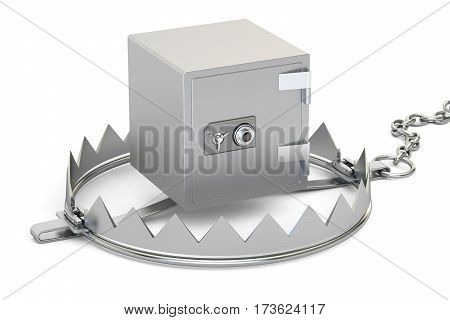 trap with safe box 3D rendering isolated on white background