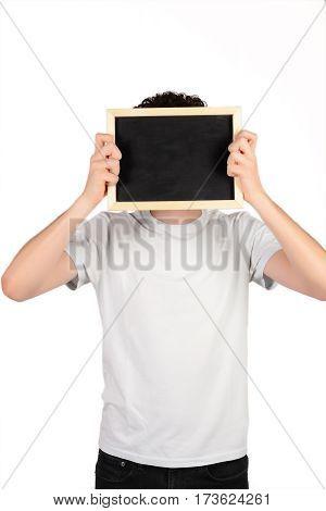 Man Holding Chalkboard.
