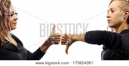 Young blond caucasian woman talking to herself showing gestures. Double portrait from two different side views. Self talk concept