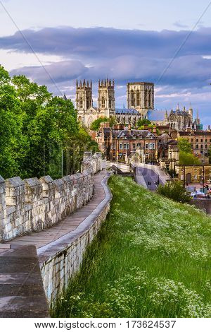 Cityscape of York from the mediaeval walls, with York Minster in the background.