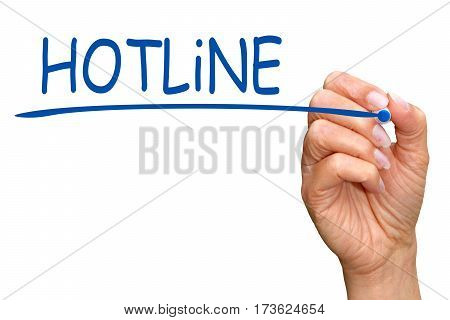 Hotline - female hand with blue marker writing text on white background