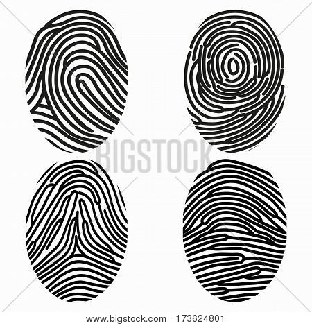Set of different fingerprints. Stylized papillary drawings. Prints with a black outline on a white background.