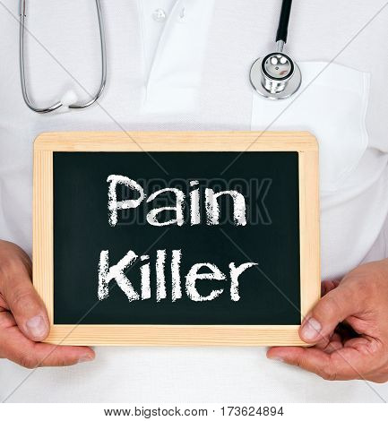 Pain Killer - Doctor holding chalkboard with text