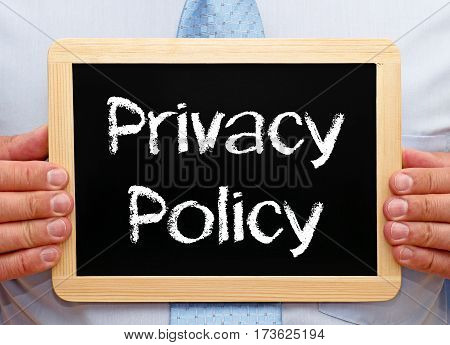 Privacy Policy - Manager holding chalkboard with text