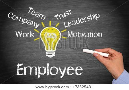Employee - Business concept with light bulb and text